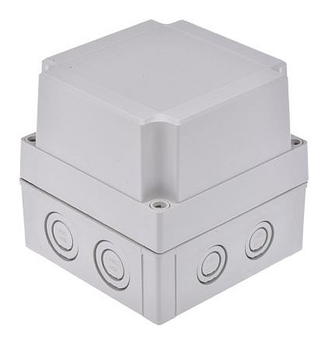Fibox Enclosures UL PCM 125/125 G MNX Knock-Out Series NEMA 4X Polycarbonate Enclosure, Base with Metric Knock-Outs and TPE Gasket, 5.1