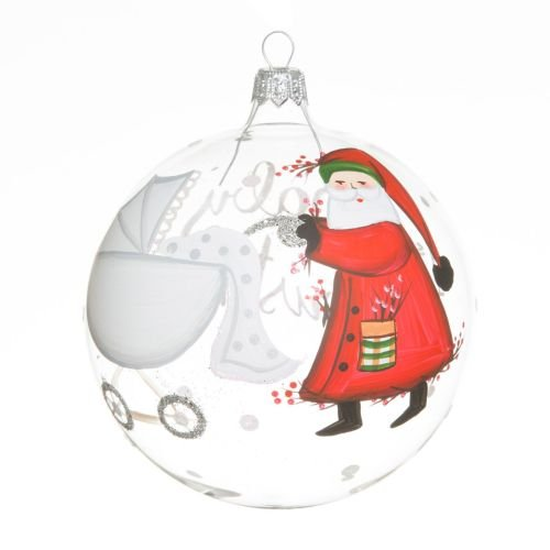 (Vietri Old St. Nick Baby's First Christmas Ball Ornament - Santa Pushing Pram)