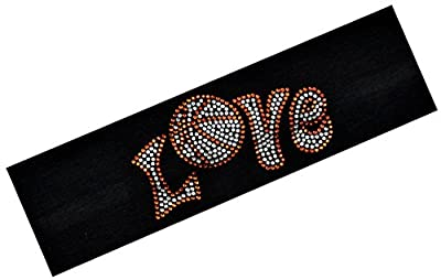 Funny Girl Designs LOVE Basketball Rhinestone Cotton Stretch Headband for Girls Teens and Adults - Basketball Team Gifts