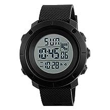 Digital Sports Watch Water Resistant Waterproof LED Military Black Big Face Men's Wristwatch 1213