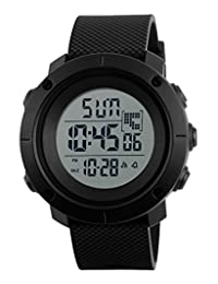 Digital Sports Watch Water Resistant Outdoor Electronic Waterproof LED Military Black Big Face Men's Wristwatch 1213