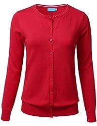 Women Button Down Crew Neck Long Sleeve Soft Knit...