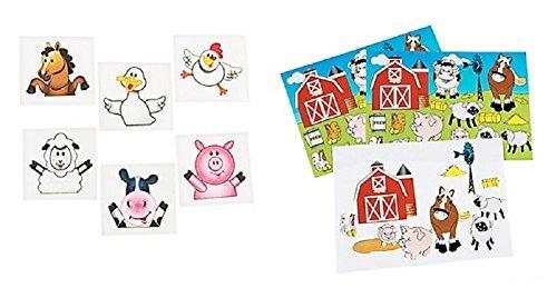 Farm Animal Party Set ~ 72 Farm Animal Tattoos ~ 12 Farm Sticker Sheets ~ -