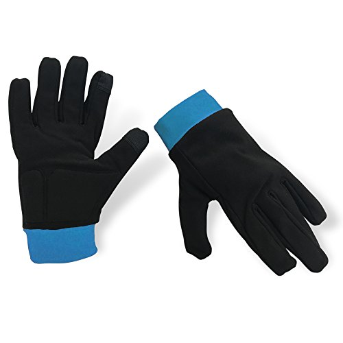 - Water-Resistant Ice Skating Gloves with Protective Padding, Touchscreen Fingertips, Fleece Lining (Black & Blue, XS)