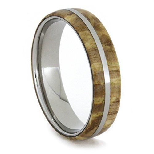 with Titanium Pinstripe 6mm Comfort-Fit Titanium Wedding Band, Size 15.75 (Wood Ash Stripe)