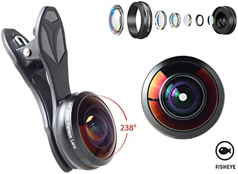 Oumij Super Fish Eye Camera Lens 235/° Wide Angle Lens 19x Macro Lens with Clip 2 in 1 Set for Phone Tablet Starburst Lens