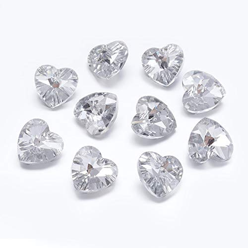 (Beadthoven 100pcs 14x14x8mm Clear Color Faceted Heart Electroplated Glass Pendants with Silver Plated Bottom Hearts Charms Love Jewelry Making Finding)