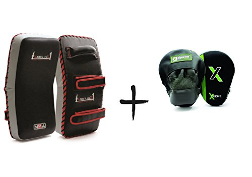 XpeeD Combo Pack Kick Boxing Thai MMA Strike Curved Pad with Focus Pads Hook and Jab Muay Hand Target Punch Mitts 1 Pair , Free Size