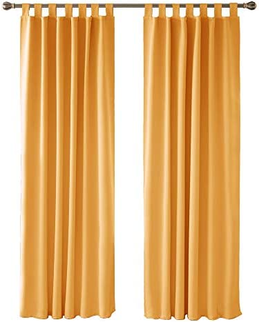 Deconovo Tende Camera da Letto Bambini Oscuranti per Interni Tende Termiche Isolanti Coprente Tinta Unita Soggiorno con Passanti per Casa Moderne 140×290 CM Arancione 2 Pannelli