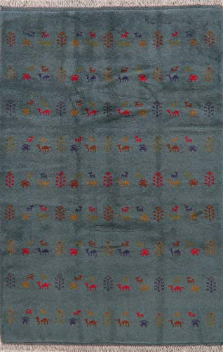 New Modern Oriental Persian Hand-Knotted Area Rug Wool Gabbeh Carpet 5X8 Blue