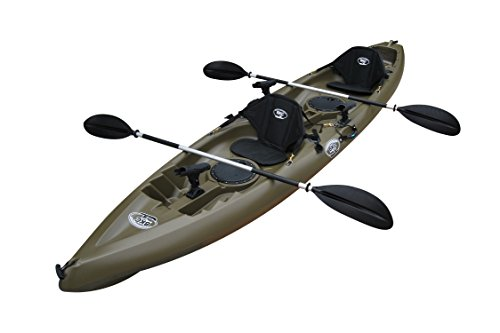 BKC UH-TK181 12-foot 5-inch Sit On Top Tandem 2 Person Fishing Kayak with Paddles