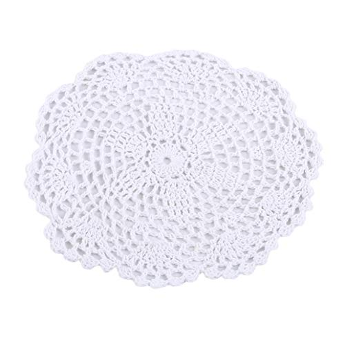(KISSFRIDAY Round Knitting Hand Crochet Floral Lace Doily Placemat Table Mat(color 8))