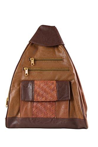 Brauner Damen Leder Rucksack Handtasche