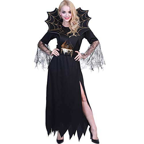 EraSpooky Women Spider Witch Vampire Long Halloween Dress]()