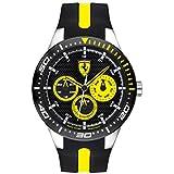 Ferrari Men's RedRev Quartz Stainless Steel and Silicone Strap Casual Watch, Color: Black (Model: 830585)