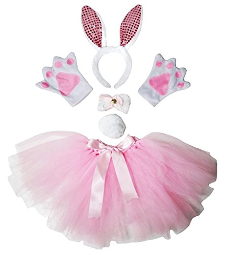 Pink Sequin Bunny Costumes (Petitebella Headband Bowtie Tail Gloves Tutu Unisex Children 5pc Girl Costume (Light Pink Sequins Bunny))