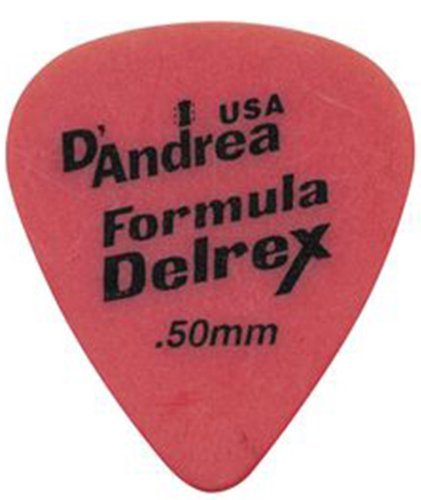 D'Andrea TD351, 0.50TH Formula Delrex Guitar Picks, 12-Piece, Red, 0.50mm, - Dandrea Picks Delrex Guitar Delrin