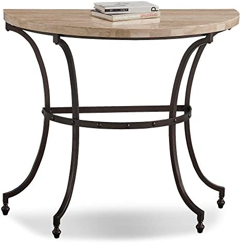 Leick Home Travertine Stone Top Console Demilune
