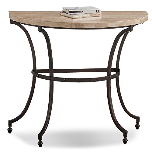 - Leick Home Travertine Stone Top Console Demilune
