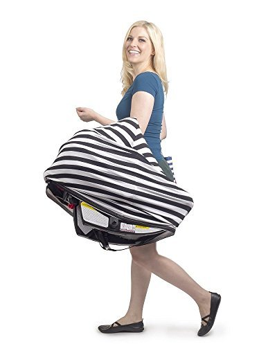 YOHO BUY Nursing Breastfeeding Cover Scarf,Baby Car Seat Cover Canopy for Shopping Cart, Stroller, Carseat Covers for Girls and Boys (Unisex Baby Shower Gifts) (Black & White Stripe) by YOHO BUY