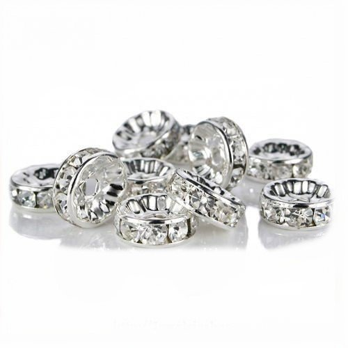 100 Pcs Crystal Rondelle Spacer Bead Silver Plated 8mm Crystal White (001)