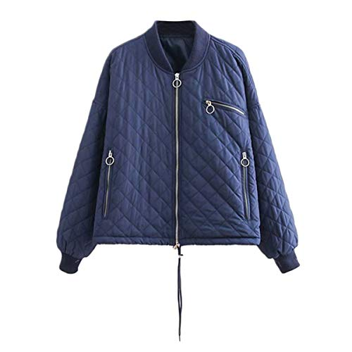 de gruesa cálido chaqueta tamaño pie L cremallera larga Azul mujer de diamante Sólido de abrigo de de Color manga Invierno ZFFde collar TO8EqATw