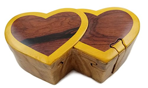 (Oberstuff.com Two Hearts All Natural Exotic Woods Puzzle Box, 6.25 x 3 x 2 with Sliding Wooden Key Lock, Sliding Cover and Inner Lid to Hidden Compartment. Hand-Made Wood Onlay Design on Lid.)