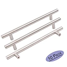 10Pack Goldenwarm Stainless Steel Kitchen Cabinet Door Handles Brushed Nickle T Bar Drawer Pull Knobs 1/2 inch Diameter Hole Spacing 128mm 5in