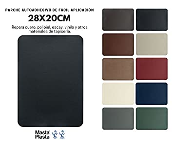 MastaPlasta Reparación Cuero, Polipiel y Skai - Parches Adhesivos Rectangulo XL (200x280mm) (Negro)