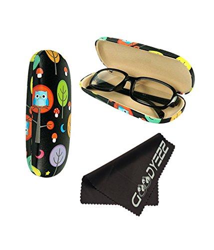 Glasses Case Hard Shell Holder For Reading Eyeglasses Eyewear W/ Cleaning Cloth (Black - Owl)