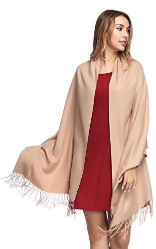 - Pashmina Shawls and Wraps for Women - PoilTreeWing Solid Color Cashmere Scarfs(Camel)