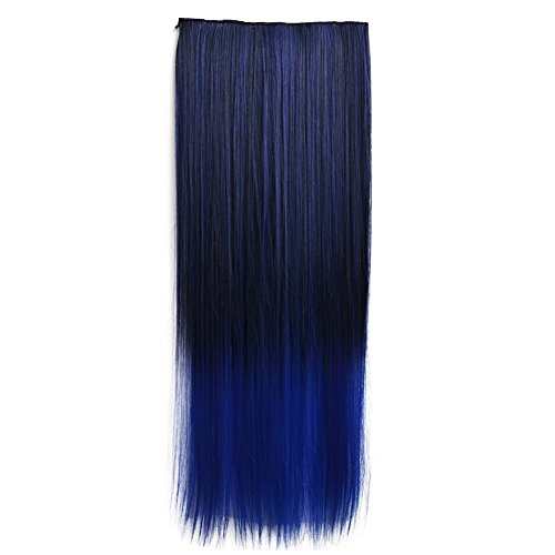 Stepupgirl 23 Inch Black to Dark Blue Ombre Color Straight Full Head Synthetic Clip in Hair Extension with Souvenir Card