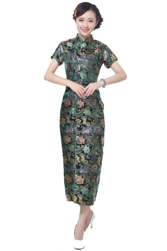 [JTC Brocade Banquet Long Cheongsam Chinese Dress Han Costume Wedding Qipao Skirt (XL, Color4)] (Han Chinese Costume)