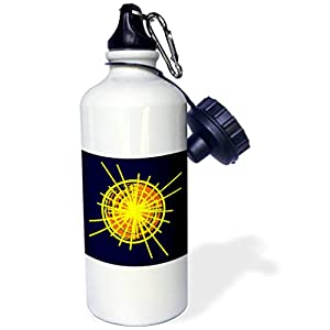 3dRose Alexis Design - Objects - Illustration of a yellow and orange shining sun, dark blue background - 21 oz Sports Water Bottle (wb_273805_1)