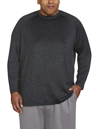 - Amazon Essentials Men's Big & Tall Tech Stretch Long-Sleeve T-Shirt fit by DXL, Black Spacedye, 3X