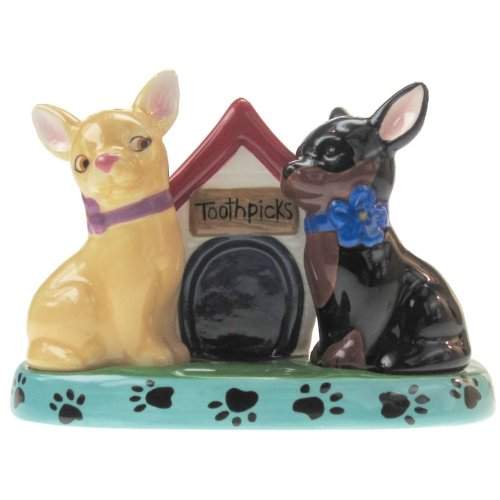 (Westland Giftware Mwah Chihuahuas Magnetic Ceramic Salt and Pepper Shaker with Toothpick Holder Set, 3.25-Inch)