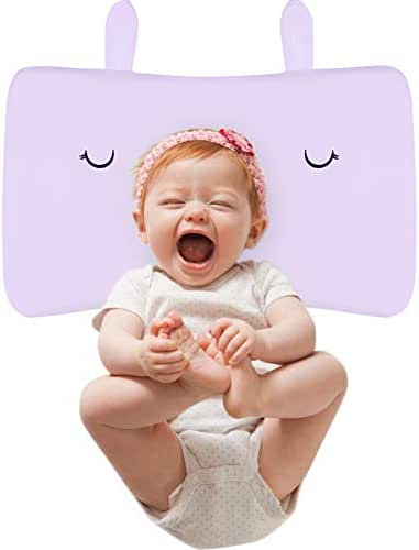 Baby Pillow, IKRR Toddler Soft Breathable Memory Foam Pillow-Anti Flat Head Syndrome (Plagiocephaly) for 6-24 Months Kids Sleeping (Pink)