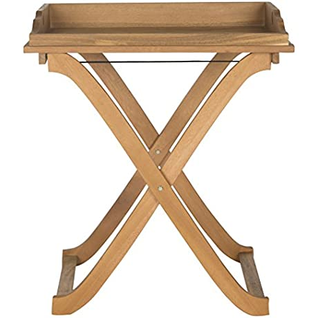 Safavieh Outdoor Living Collection Covina Tray Table Teak Brown