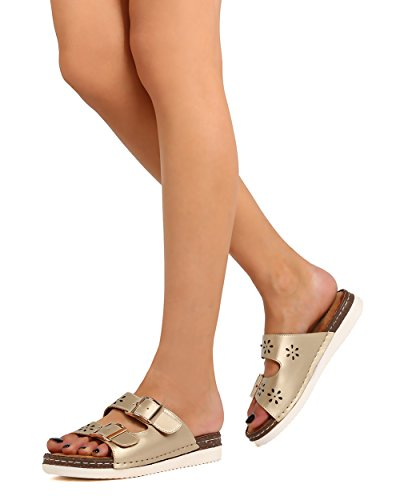 BETANI FK66 Women Metallic Leatherette Open Toe Double Buckle Perforated Sandal - Gold MkyOcd