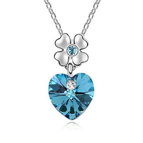 Winter's Secret Austrian Crystal Dancing Heart Sea Blue Pendant Flower Silver Chain Necklace