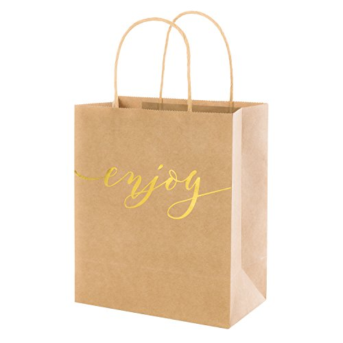 Ling's moment Set of 25 Wedding Holiday Party Gift Bags Gold Embossed