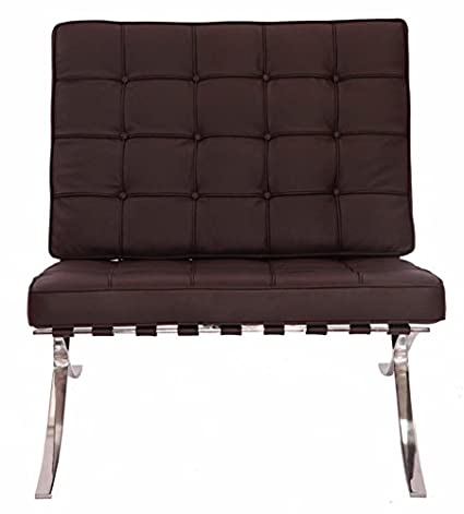 eMod - Mies Barcelona Chair Reproduction Replica Style Italian Leather Brown