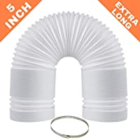 """EXTRA LONG Portable Air Conditioner Exhaust Hose - 72 Inch Length 5 Inch Diameter - Counterclockwise Threading - (5″ X 72"""") AC Vent + Bonus Clamp"""