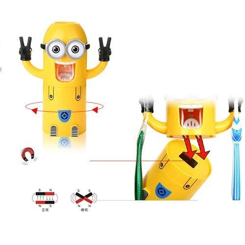 Cute Two Eyes Despicable Me Minions Design Combo Set Toothbrush Holder Automatic Toothpaste Dispenser with Rinse Cup (Yellow)