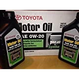 Case of 12 Quarts Toyota Full Synthetic 0W-20 Oil