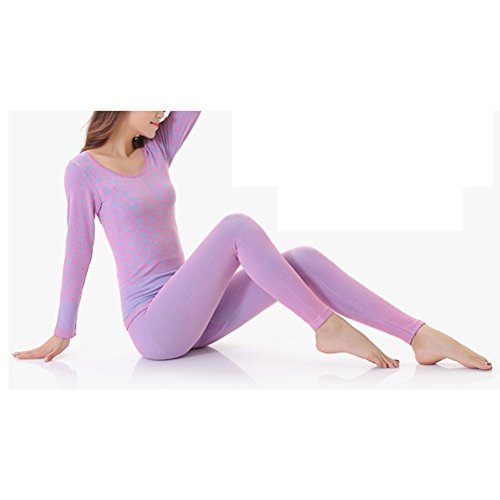 Zhhlaixing mujeres Winter Soft Cotton Round Neck Warm Body-shaped Thermal Underwear Set Slimming Suits Blue