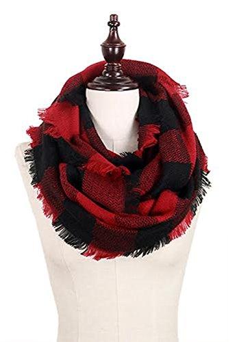 (StylesILove Plaid Lovers Collection Womens Infinity Scarf Regular Scarf (Buffalo Plaid Dark Red))