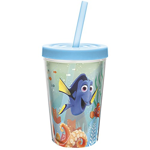 Zak! Designs Insulated Tumbler with Screw-on Lid and Straw featuring Finding Dory Graphics, Break-resistant and BPA-free Plastic, 13 oz. (Kids Sippy Cups Insulated compare prices)