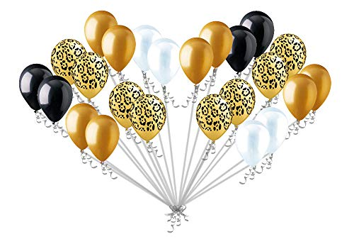 24 pc Leopard Wild Safari Inspired Latex Balloons Party Decoration Black Clear Gold Cheetah ()