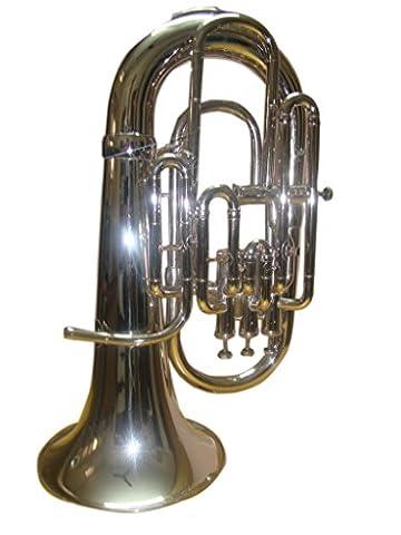OSWAL Bb/F 4 Valve Flat Silver Nickel Euphonium With Free Hard Case+M/P - Bb Tuba